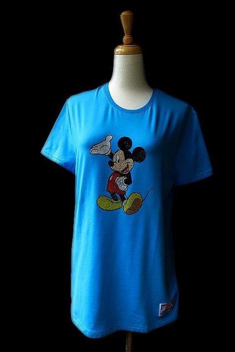 *Beauty*ICE BERG藍色米奇水鑽短袖棉T恤 售4990元 COCO17