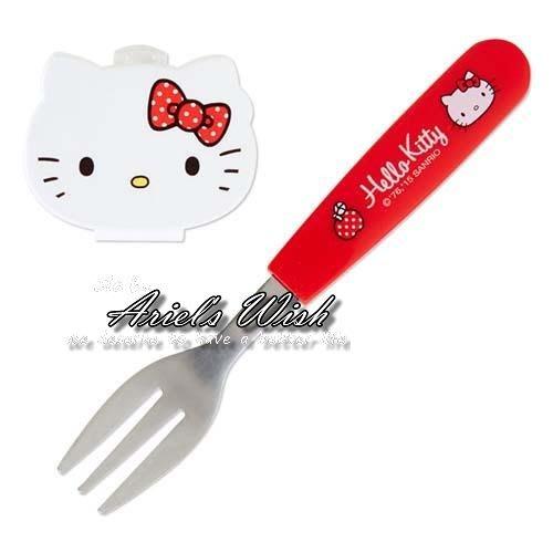 Ariel's Wish-日本三麗鷗sanrio限定-凱蒂貓hello kitty隨身攜帶環保餐具鐵製叉子--日本製--