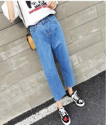 牛仔寬褲  闊腿直筒牛仔褲女韓版寬鬆顯瘦百搭bf風學生初戀褲子