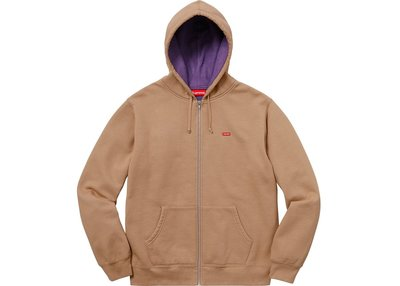 【REACTION】SUPREME CONTRAST ZIP UP HOODED 米色 連帽外套 卡其紫 內裡紫