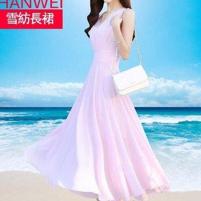 洋裝無袖連身裙雪紡V領裙子氣質修身沙灘裙長裙仙女款—莎芭