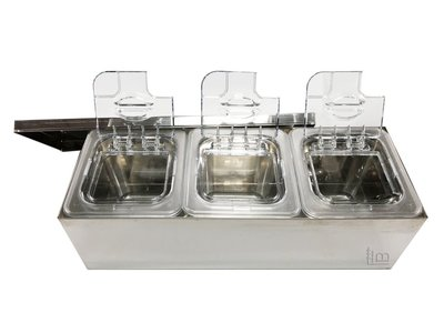一鑫餐具【不銹鋼三格調味盒/高15公分】沙拉盒沙拉盆配料盒調味盒白鐵盒調理盆