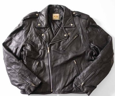 韓國製 Hard Rock 黑色 真皮騎士皮衣 XL