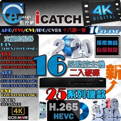 可取 16路 4K H.265 監視器 主機 8MP 8百萬 2倍壓縮格式 iCATCH 頂規版本大台主機【ee監控網】