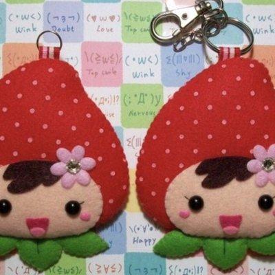 Ponponhouse 平安符袋 鑰匙圈 夾式平安符 御守 草莓