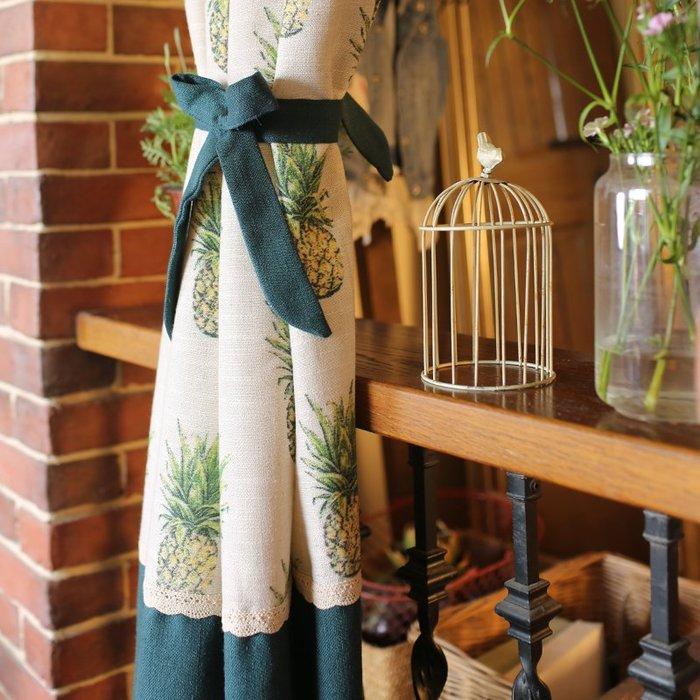 美式北歐熱帶植物菠蘿窗簾 門簾 風水簾 穿桿窗簾 特價棉麻窗簾 墨綠