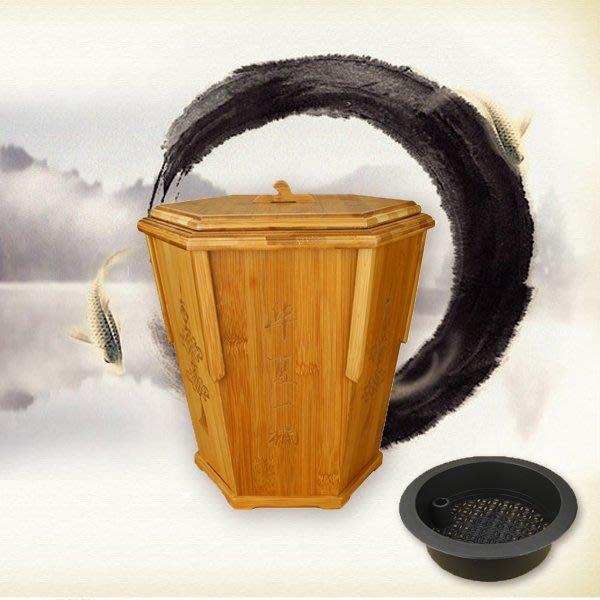 5Cgo【茗道】含稅會員有優惠 40964457499 孟宗竹茶渣桶茶葉垃圾桶茶水桶塑料帶蓋排水蓄水茶桶功夫茶具茶盤配件