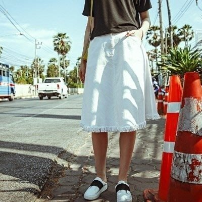 長裙 牛仔半身裙子-流行大方個性流蘇女裙裝73hv14[獨家進口][米蘭精品]