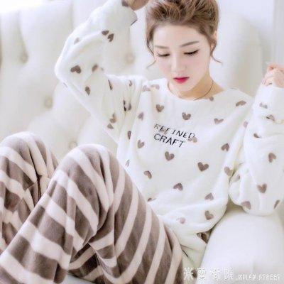 睡衣 冬季珊瑚絨睡衣女長袖秋冬保暖加厚加絨甜美可愛法蘭絨家居服套裝MLJT15908