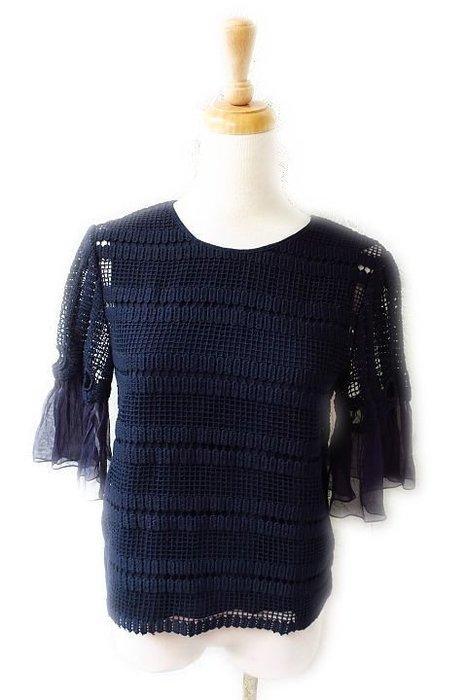 *Beauty*CHLOE深藍色絲袖下擺 圓領蕾絲短袖針織衫 WE17 售16900元 加圖