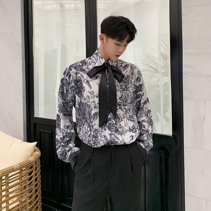 型男風 現貨 19早春原宿時尚個性水墨畫氣質領結飄帶寬鬆男襯衣 實拍 免運