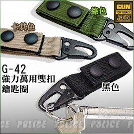 【ARMYGO】GUN 強力萬用雙扣鑰匙圈 (軍綠/卡其/黑色) #G-42 (單個販售)