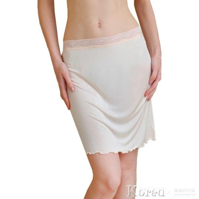 襯裙 夏季女士真絲針織蕾絲花邊半身裙 桑蠶絲防走光內襯裙打底裙 睡裙