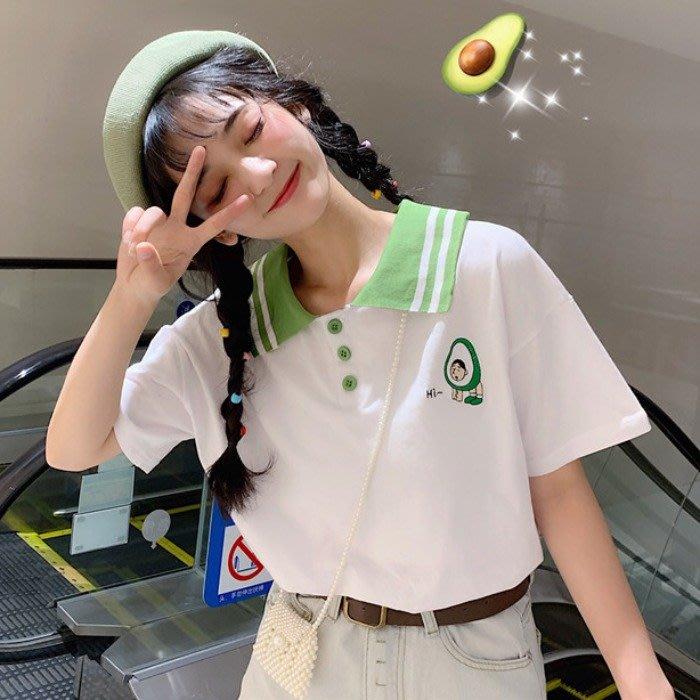 小香風 短袖T恤 時尚穿搭 韓版 牛油果綠刺繡百搭寬松polo領網紅短袖T恤女學生