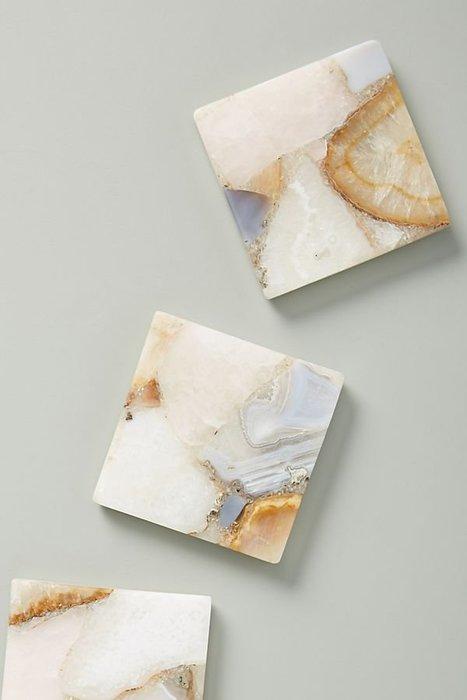 美國鄉村Anthropologie 大理石旋轉瑪瑙杯墊 隔熱墊 Morgan Agate Coaster
