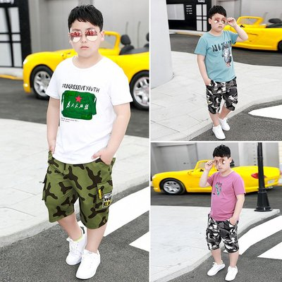hello小店-胖童加肥加大短袖套裝夏季薄款男童寬松純棉夏天衣服中大童兩件套#兒童上衣#襯衫#短袖t恤#