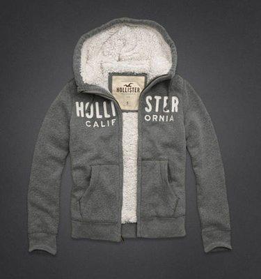 Maple麋鹿小舖 Hollister Co * HCO 灰色貼布字母款內舖毛毛連帽外套*( 現貨XL號 )