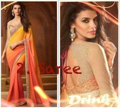 2. 刺繡優雅漸層款 Elegance Saree 寶萊塢明星風格莎麗 印度舞衣紗麗 Sari