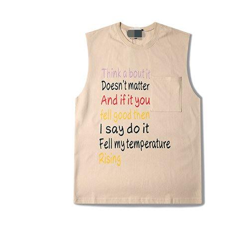 FINDSENSE H1夏季 新款 日本 個性  純棉背心  彩色字母印  寬鬆 潮牌 情侶背心  無袖T恤 潮男女上衣