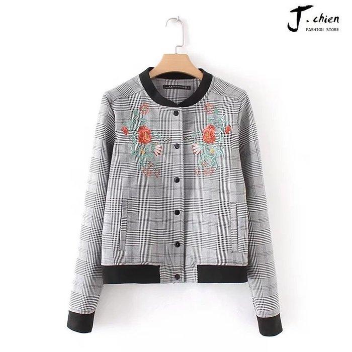 J.chien ~[全館免運] 秋冬時尚百搭修身夾克 千鳥格刺繡夾克外套 外套 夾克 刺繡外套