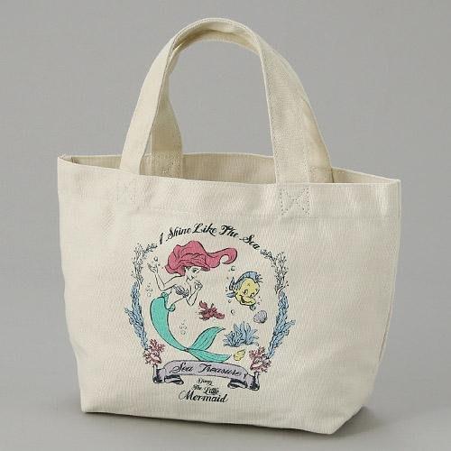 迪士尼小美人魚手提袋 帆布包 便當袋 隨身包包 愛麗兒 日本正版~彤小皮的遊go世界