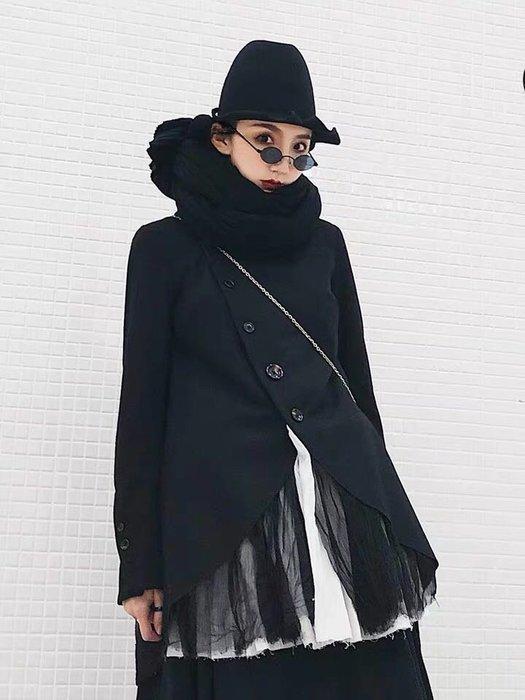 Flowerer. Sha 原創 暗黑先鋒 小眾設計黑白拼接棉麻褶皺網纱羊毛外套西裝 英式英倫學院風 復古風
