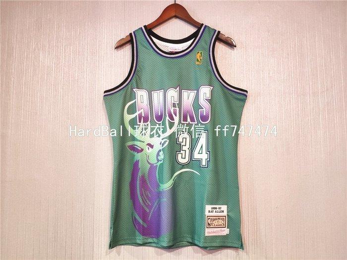 雷·艾倫 (Ray Allen) NBA密爾瓦基公鹿隊 復古版 球衣 34號 绿色