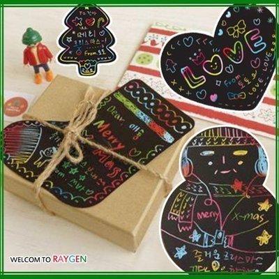 八號倉庫 聖誕系列 DIY刮刮畫組合卡片+信封+筆 聖誕卡 禮物【2B165Y275】