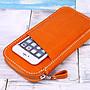 【切線派】意大利植鞣革純手工真皮護照包旅行收納錢包004 長款橘色