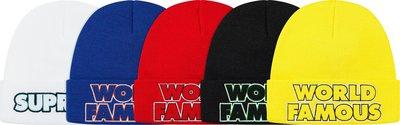 全新商品 Supreme 19FW World Famous Beanie 毛帽 針織帽