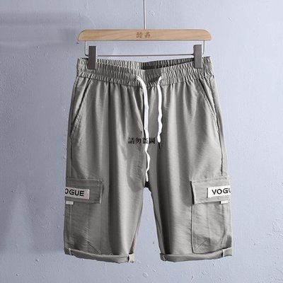 高街潮品 潮流夏季男裝2021年新品短褲男士正韓修身直筒五分松緊工裝褲9067