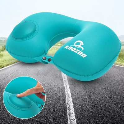 充氣u型枕按壓自動充氣枕頭髪頸椎飛機枕午休枕旅行旅游便攜U形枕