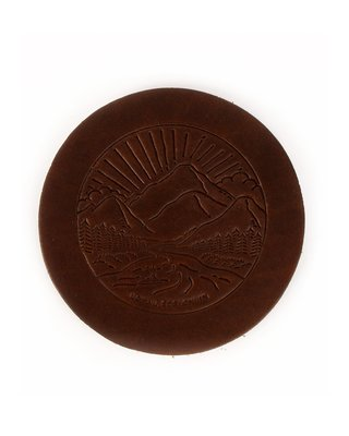 LOYAL STRICKLIN 皮革杯墊 深棕色 耐用隔熱 經典風景logo 皮革 咖啡杯 馬克杯 杯墊 真皮 手工製