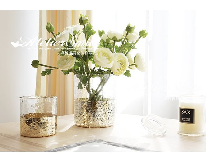 [ Atelier Smile ] 鄉村雜貨 北歐風 簡約 金色玻璃圓柱花瓶 家居裝飾 擺設  # L (現+預)