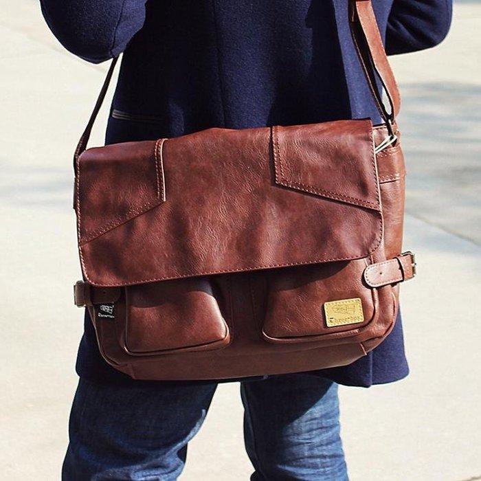 復古軟皮側背包日韓男包斜背包大容量挎包 【潮玩街】