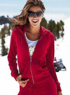 ☆°╮VS流行館╭°☆保證美國進口高級時尚品牌◎高級絲絨天鵝絨顯瘦連帽運動外套300元(紅色S號/M號)