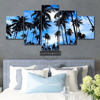 現貨促銷~無框畫 度假風 熱帶 椰樹 海天一色 唯美風景裝飾畫 現代藝術 生日禮物 房間客廳裝潢掛畫 玄關走廊壁畫~xo