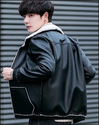 Color Fashion秋冬季韓版新款帥氣毛領加絨皮衣夾克衫男韓版潮青年男裝 G825150男裝皮衣