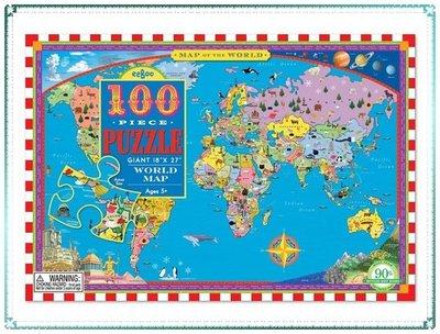 【Q寶寶】Eeboo 桌遊 世界地圖 兒童拼圖(100片46*69公分) 兒童玩具 禮物_現貨