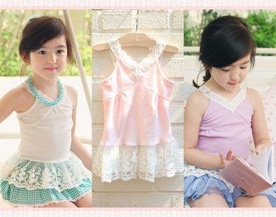 。~ 寶貝可愛 ~。韓國精選amber pure美麗繡花蕾絲背心。春夏過季零碼出清優惠