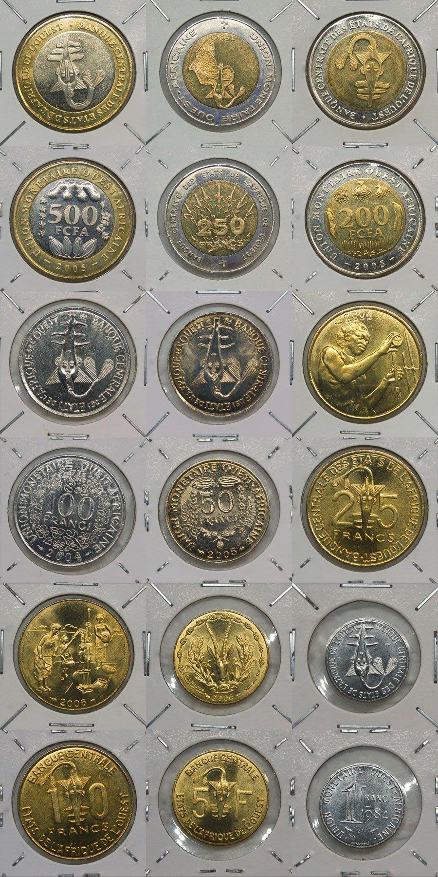 西非 (WEST AFRICAN STATES) 九枚套幣 (全新)【A2517】