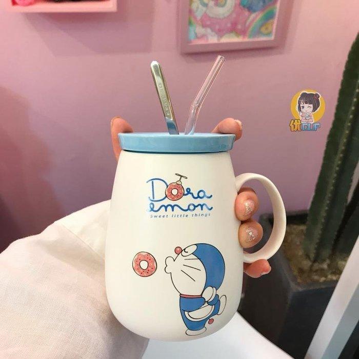 包郵帶蓋吸管勺哆啦A夢陶瓷杯子叮當貓卡通學生情侶大容量馬克杯水杯咖啡杯 馬克杯 玻璃杯