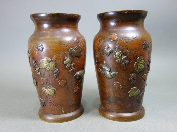 『華寶軒』花道具 明治時期 銅製 高肉象嵌 結實纍纍 鳥語花香 對花瓶