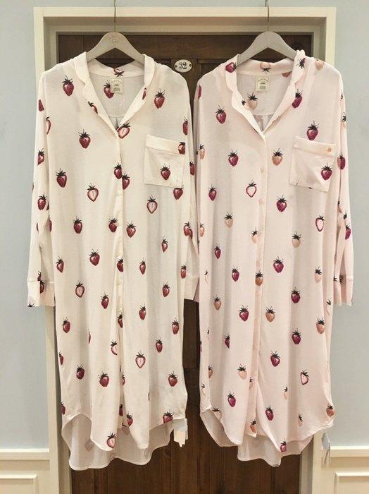 陽光角落~SEP02~ gelato pique大草莓 舒適長袖襯衫式洋裝 莫代爾長洋裝 排扣連身裙 長上衣 睡裙