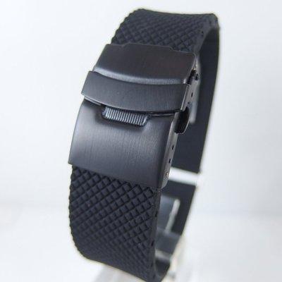 錶帶屋Oris BC款式(非原廠)可代用各廠牌錶矽膠錶帶黑色PVD錶扣可裝 24mm 22mm 20mm 菱格紋交叉胎紋