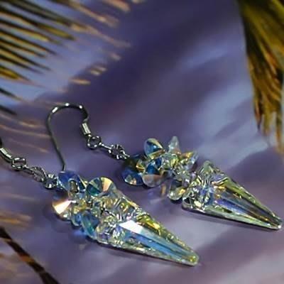 水晶耳環 925純銀耳針-歐美時尚錐形奢華生日情人節禮物女飾品73km41[獨家進口][巴黎精品]