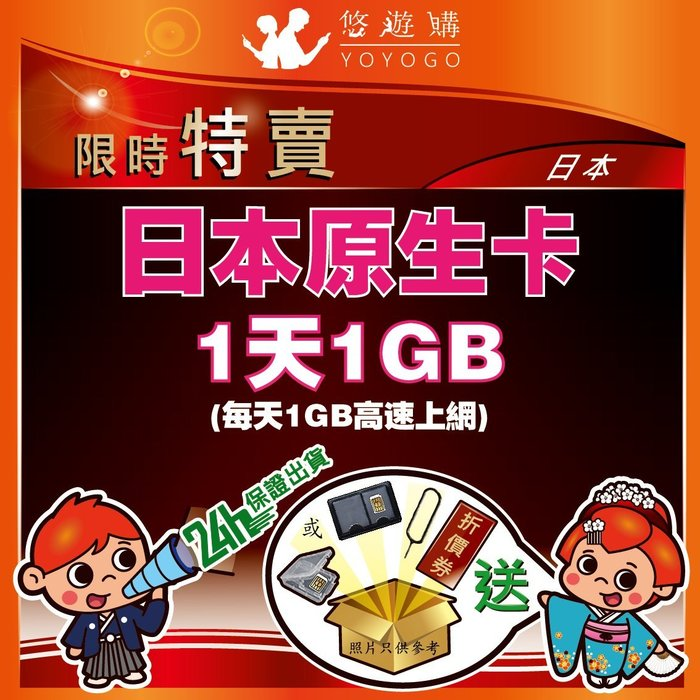 悠遊購 日本 1天1GB 高速上網 降速 吃到飽 無限流量 上網卡 日本網卡 【Y87】