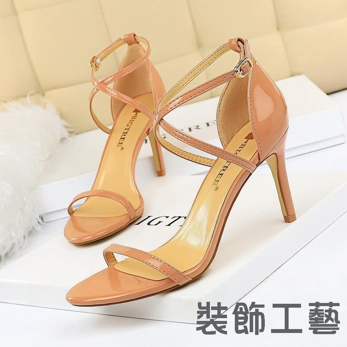126-A7時尚夏季簡約高跟鞋細跟高跟漆皮交叉帶性感夜店涼鞋