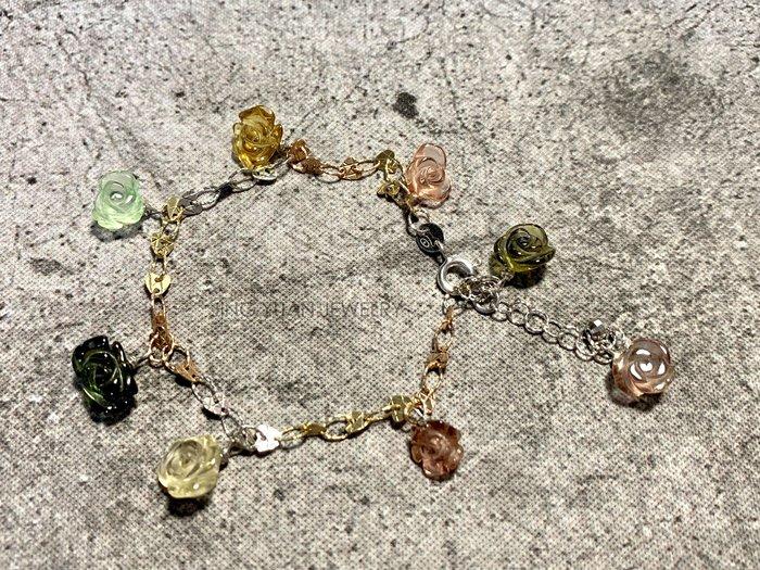 JING YUAN JEWELRY **阿富汗玫瑰花碧璽三色k金手鍊 8顆共重14.41ct  已是最後一條 賣完斷貨