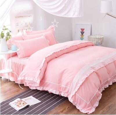 韓國床裙式四件套純色公主風棉質床單花邊被套DSHY